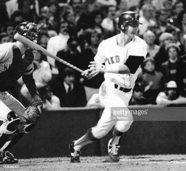 Carl Yastrzemski of the Boston Red Sox gets the base hit for his 3000th career hit during the 8th inning against the New York Yankees on September 12...