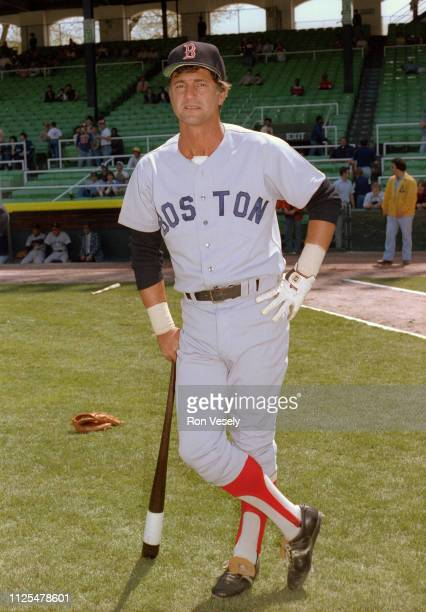 Carl Yastrzemski of the Boston Red Sox poses before an MLB game during the 1981 season at Comiskey Park in Chicago Illinois Yastrzemski played for...
