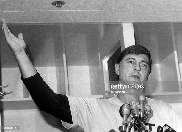 Carl Yastrzemski of the Boston Red Sox speaks to the media in the locker room after a game circa 1970's at Yankee Stadium in the Bronx New York