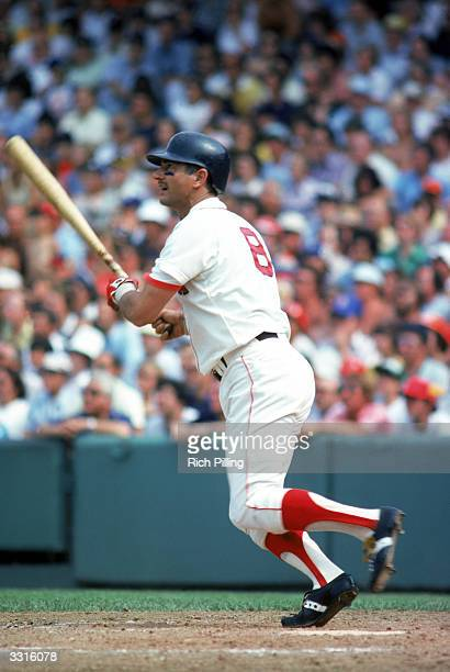 Carl Yastrzemski of the Boston Red Sox watches his hit during a Major League Baseball game circa 19611983 at Fenway Park in Boston Massachusetts