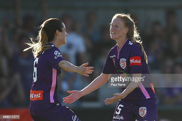 Carla Bennett and Shannon May of the Glory celebrate a goal during the round seven ALeague match between Perth Glory and Melbourne Victory at...