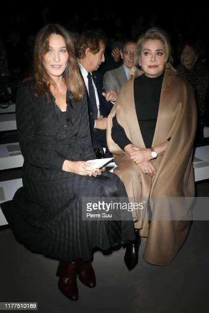 Carla Bruni and Catherine Deneuve attend the Celine Womenswear Spring/Summer 2020 show as part of Paris Fashion Week on September 27, 2019 in Paris,...