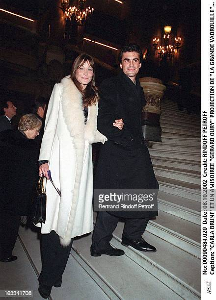 Carla Bruni and her friend Raphael Enthoven 'Gerard Oury' film screening of 'La Grande Vadrouille' at the Garnier opera