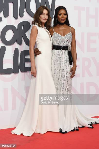 Carla Bruni and Naomi Campbell attend Fashion for Relief Cannes 2018 during the 71st annual Cannes Film Festival at Aeroport Cannes Mandelieu on May...