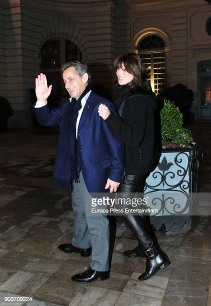 Carla Bruni and Nicolas Sarkozy are seen arriving at Santo Mauro Hotel after Carla Bruni's concert on January 10 2018 in Madrid Spain