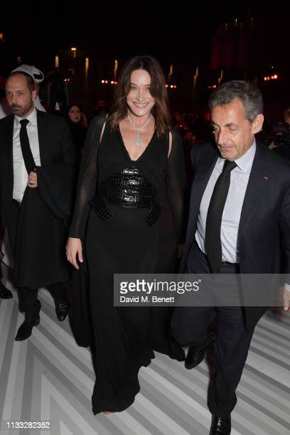 Carla Bruni and Nicolas Sarkozy attend the Fashion Trust Arabia Prize awards ceremony on March 28, 2019 in Doha, Qatar.