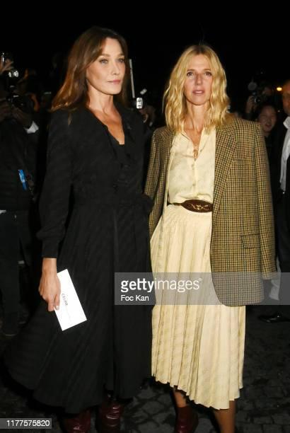 Carla Bruni and Sandrine Kiberlain attend the Celine Womenswear Spring/Summer 2020 show as part of Paris Fashion Week on September 27 2019 in Paris...