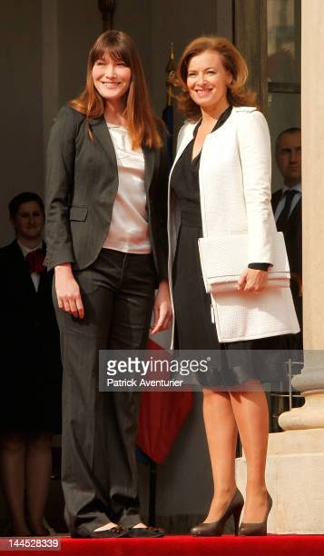 Carla Bruni and Valerie Trierweiler at Elysee Palace on May 15 2012 in Paris France While Sarkozy has suggested that he will leave politics to return...