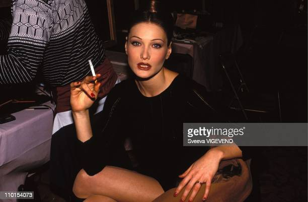 Carla Bruni at the fashion show 'Haute Couteur' in Paris France in 1993
