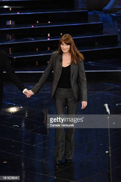 Carla Bruni attend the second night of the 63rd Sanremo Song Festival at the Ariston Theatre on February 13 2013 in Sanremo Italy