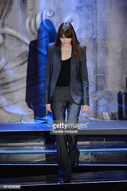 Carla Bruni attend the second night of the 63rd Sanremo Song Festival at the Ariston Theatre on February 13, 2013 in Sanremo, Italy.