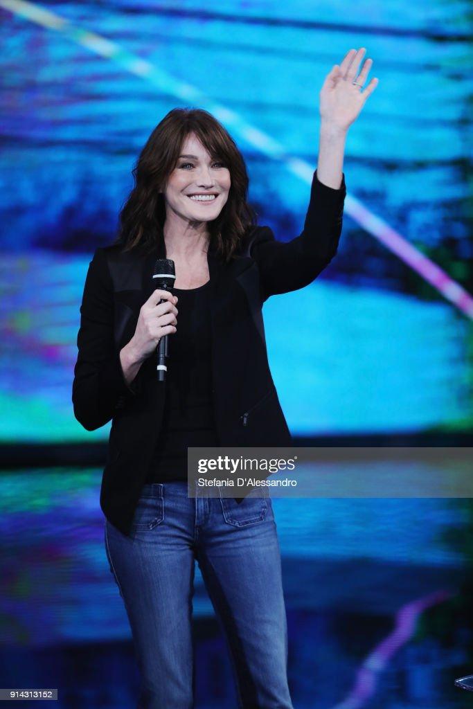 Carla Bruni attends 'Che Tempo Che Fa' tv show on February 4, 2018 in Milan, Italy.