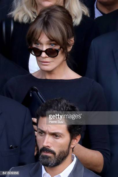 Carla Bruni attends Mireille Darc's Funerals at Eglise SaintSulpice on September 1 2017 in Paris France