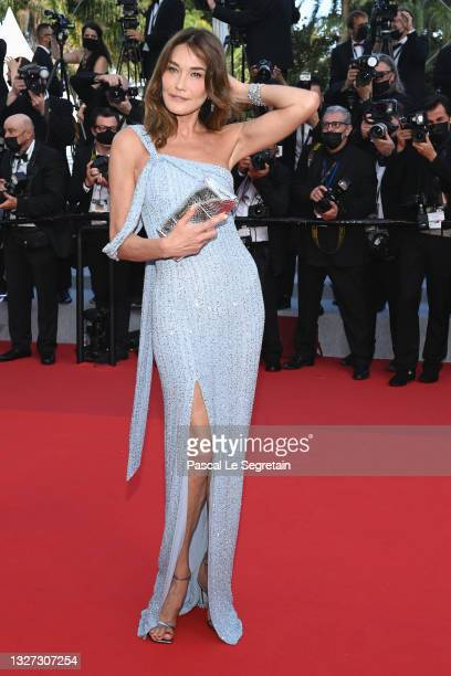 """Carla Bruni attends the """"Annette"""" screening and opening ceremony during the 74th annual Cannes Film Festival on July 06, 2021 in Cannes, France."""