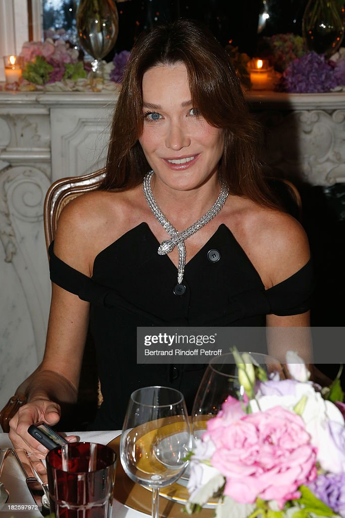 Carla Bruni attends the Bulgari and Vogue Party at Apicius Restaurant as part of the Paris Fashion Week Womenswear Spring/Summer 2014 on September 28, 2013 in Paris, France.