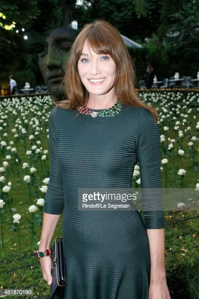 Carla Bruni attends the Bulgari Cocktail Event At Apicius as part of Paris Fashion Week at Apicius on July 8 2014 in Paris France