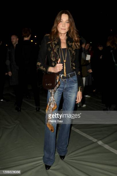 Carla Bruni attends the Celine show as part of the Paris Fashion Week Womenswear Fall/Winter 2020/2021 on February 28, 2020 in Paris, France.