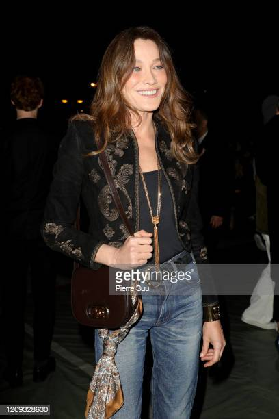 Carla Bruni attends the Celine show as part of the Paris Fashion Week Womenswear Fall/Winter 2020/2021 on February 28 2020 in Paris France