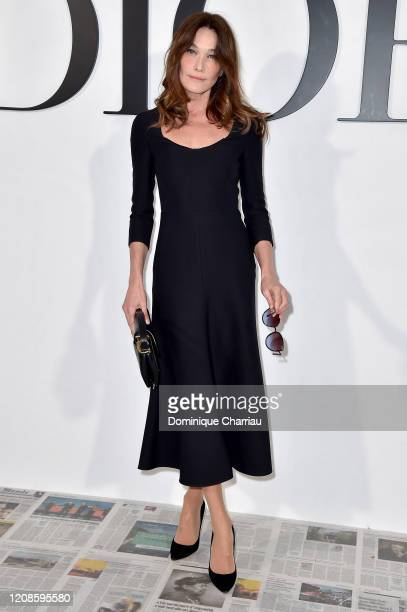 Carla Bruni attends the Dior show as part of the Paris Fashion Week Womenswear Fall/Winter 2020/2021 on February 25, 2020 in Paris, France.
