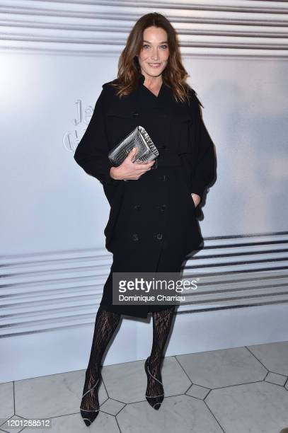 Carla Bruni attends the Jean-Paul Gaultier Haute Couture Spring/Summer 2020 show as part of Paris Fashion Week at Theatre Du Chatelet on January 22,...