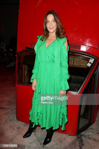 Carla Bruni attends the OffWhite show as part of the Paris Fashion Week Womenswear Fall/Winter 2020/2021 on February 27 2020 in Paris France