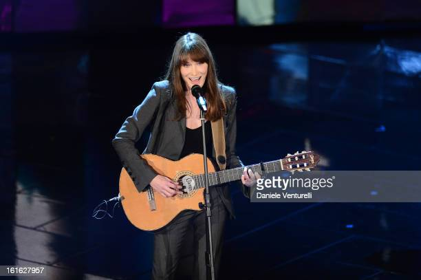 Carla Bruni attends the second night of the 63rd Sanremo Song Festival at the Ariston Theatre on February 13 2013 in Sanremo Italy