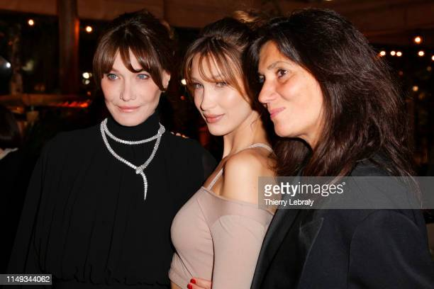Carla Bruni Bella Hadid and Emmanuelle Alt attend the Dior And Vogue Paris dinner at Fred L'Ecailler during the 72nd annual Cannes Film Festival on...