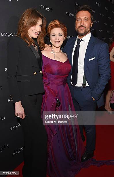 Carla Bruni Carmen Giannattasio and Antonio Riva arrive at the Bulgari flagship store reopening on New Bond Street on April 14 2016 in London England