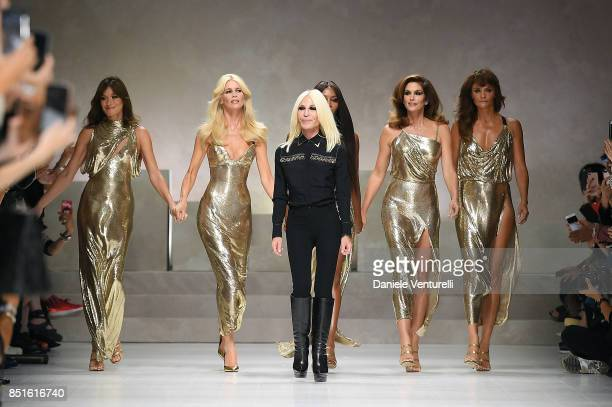 Carla Bruni, Claudia Schiffer, Donatella Versace, Naomi Campbell, Cindy Crawford and Helena Christensen walk the runway at the Versace show during...