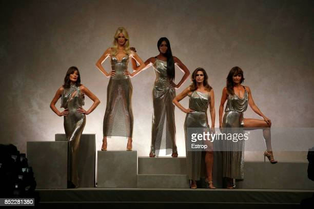 Carla Bruni Claudia Schiffer Naomi Campbell Cindy Crawford Helena Christensen at the Versace show during Milan Fashion Week Spring/Summer 2018 on...