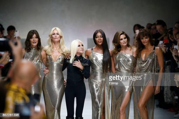 Carla Bruni Claudia Schiffer Naomi Campbell Cindy Crawford Helena Christensen Donatella Versace at the Versace show during Milan Fashion Week...