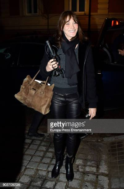 Carla Bruni is seen arriving at Santo Mauro hotel after her concert on January 10 2018 in Madrid Spain