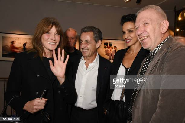 Carla Bruni Nicolas Sarkozy Farida Khelfa and Jean Paul Gaultier attend the Simon Bocanegra And Philippe Morillon Exhibition At la Galerie Du passage...