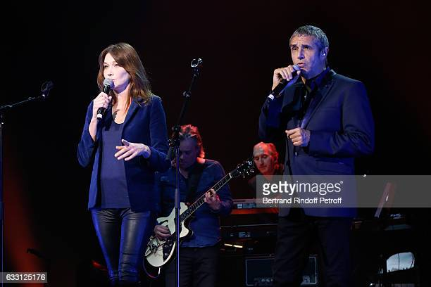 Carla Bruni Sarkozy and Julien Clerc perform during the Charity Gala against Alzheimer's disease at Salle Pleyel on January 30 2017 in Paris France