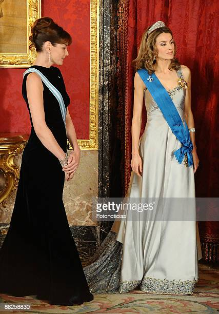 Carla Bruni Sarkozy and Princess Letizia of Spain attend a Gala Dinner honouring French President Nicolas Sarkozy at The Royal Palace on April 27...