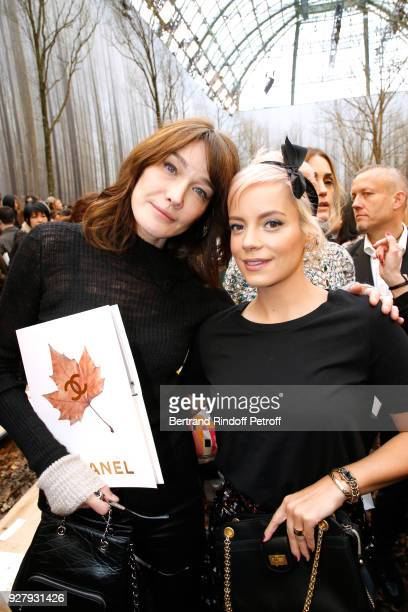 Carla Bruni Sarkozy and Singer Lily Allen attend the Chanel show as part of the Paris Fashion Week Womenswear Fall/Winter 2018/2019 on March 6 2018...
