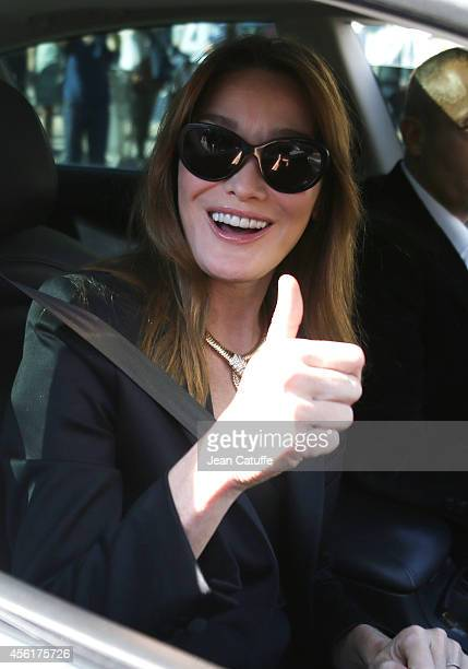 Carla Bruni Sarkozy attends Christian Dior fashion show at Carre du Louvre as part of the Paris Fashion Week Womenswear Spring/Summer 2015 on...
