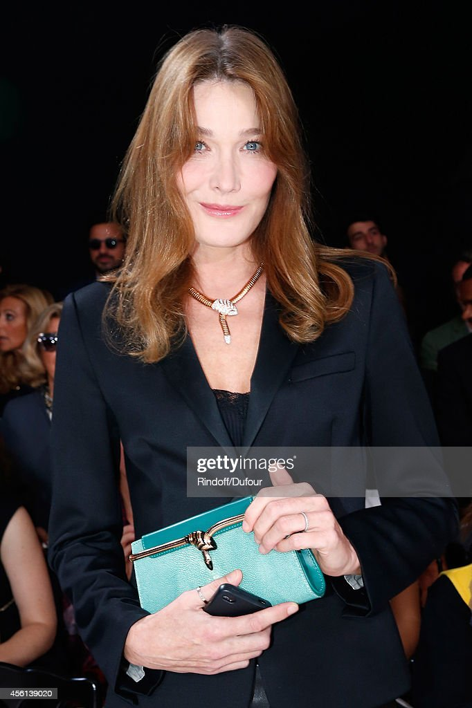 Carla Bruni Sarkozy attends the Christian Dior show as part of the Paris Fashion Week Womenswear Spring/Summer 2015 on September 26, 2014 in Paris, France.