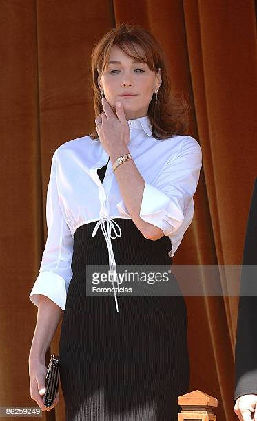 Carla Bruni Sarkozy is received by King Juan Carlos of Spain and Queen Sofia of Spain at El Pardo Palace on April 27, 2009 in Madrid, Spain.