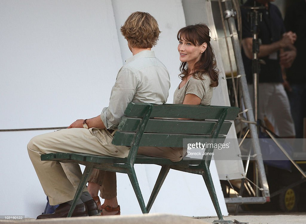 Carla Bruni Sarkozy is seen with actor Owen Wilson during