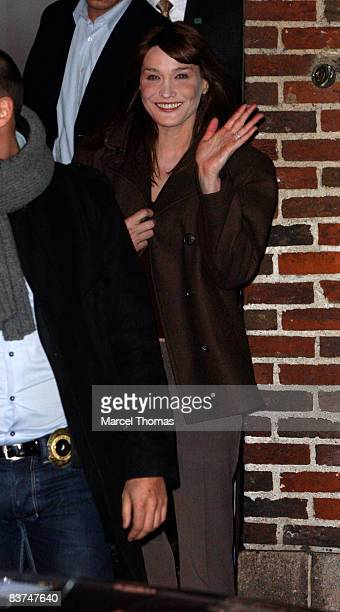 Carla Bruni Sarkozy visits Late Show with David Letterman at the Ed Sullivan Theater on November 18 2008 in New York City