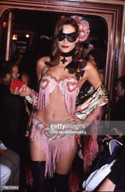 Carla Bruni wearing a creation from Jean Paul Gaultier's Fringe Bikini Spring 97 collection in 1997 in Paris