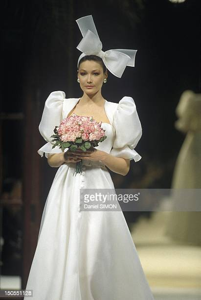 France givenchy wedding dress stock photos and pictures getty images carla bruni wearing a wedding dress designed by french fashion designer givenchy for the final of junglespirit Choice Image
