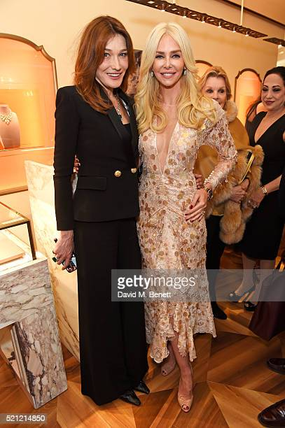 Carla Bruni, wearing Bulgari jewellery, and Amanda Cronin attend the Bulgari flagship store reopening on New Bond Street on April 14, 2016 in London,...
