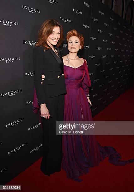 Carla Bruni wearing Bulgari jewellery and Carmen Giannattasio wearing Bulgari jewellery arrive at the Bulgari flagship store reopening on New Bond...