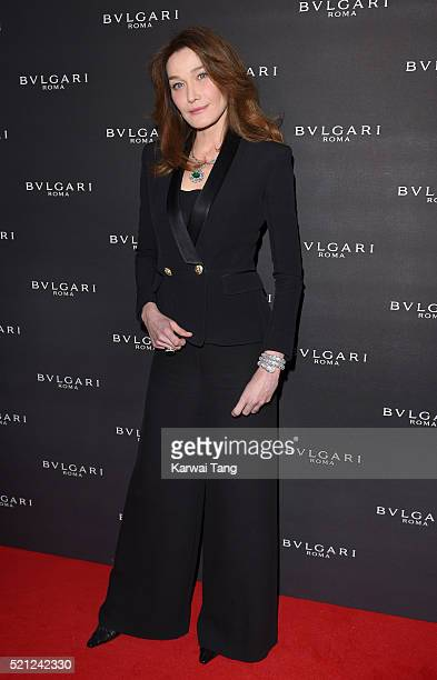 Carla Bruni wearing Bulgari jewellery attends the Bulgari flagship store reopening on New Bond Street on April 14th 2016 in London England