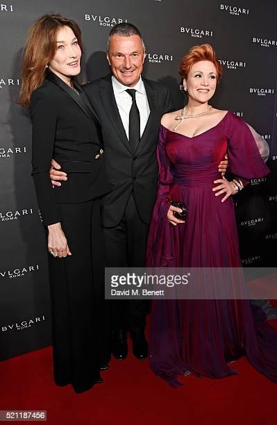 Carla Bruni wearing Bulgari jewellery Bulgari CEO Jean Christophe Babin and Carmen Giannattasio wearing Bulgari jewellery arrive at the Bulgari...