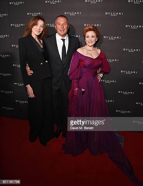 Carla Bruni wearing Bulgari jewellery Jean Christophe Babin Bulgari CEO and Carmen Giannattasio wearing Bulgari jewellery arrive at the Bulgari...