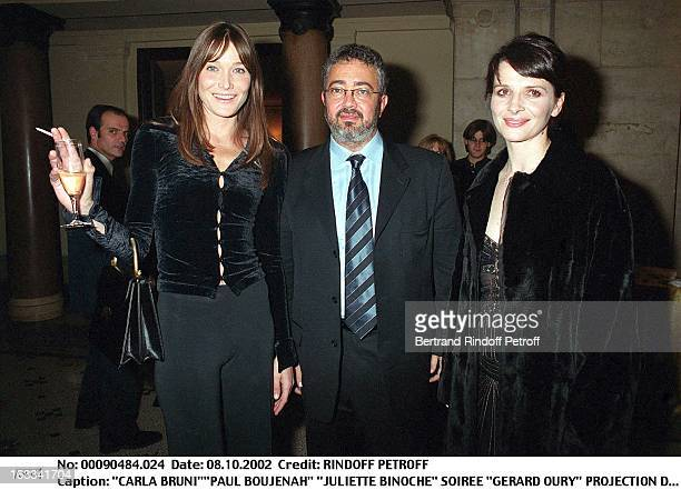 Carla Bruni'Paul Boujenah 'Juliette Binoche' 'Gerard Oury' film screening of 'La Grande Vadrouille' at the Garnier opera