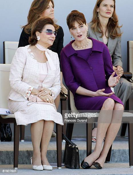 Carla Bruni-Sarkozy and Egyptian President Hosni Mubarak's wife Suzanne Mubarak attend the ceremony of the Bastille Day, on July 14, 2008 in Paris....